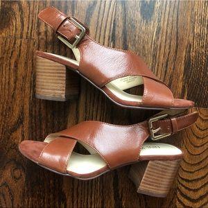 NWOT Nine West Heeled Leather Sandals, size 5